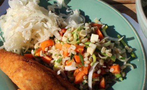 Kaszotto z pęczakiem i smażonymi warzywami